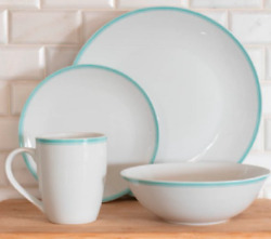 10 Strawberry Street 16-piece Green Band Coupe Dinnerware Set Service For 4 New