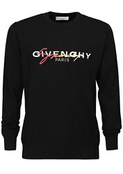 Givenchy Black Logo Embroidered Wool Knit Sweater Xl X-large New Authentic ❤️