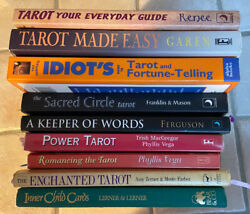 9 Qty - Lot Of Tarot Card Readers Personal Books - With Her Markings And Notes