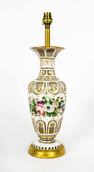 Antique Victorian White Opaque Overlaid Glass Table Lamp 19th Century