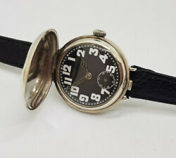 Rare W.w.i Single Button Solid Silver Full Hunter Military Man's Watch