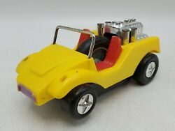 Vintage 1970s Marx Speed Dune Buggy Ssp Pull Cord Power Action Toy Car - Yellow