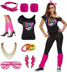 Womens I Love The 80#x27;s Disco 80s Costume Outfit 80s Hot Pink Size 2XL 3XL e8nu