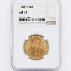 1901-s 10 Liberty Eagle Gold Coin Ngc Ms64