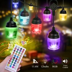 36ft String Lights 12 Led Rgb Color Changing Music Sync Cafe Outdoor Waterproof
