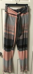 Robert Louis Women#x27;s Size XL Pull On Blue White Striped Stretch Pants Career $16.90
