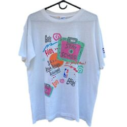 Vintage 90s Nba Stay In School Promo Tee Shirt Menandrsquos Size Large Single Stitch