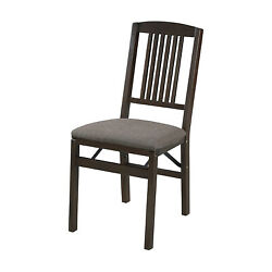 Meco Stakmore Wood Upholstered Seat Folding Chair, Espresso 2 Pack For Parts