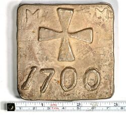 1 Square With Cross 1700 Silver Bar From The Tucson Hoard 1950and039s K12100