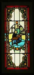 Large Old English Leaded Stained Glass Window Stunning Hand Painted 16.5 X 37