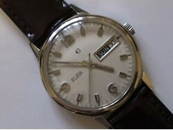 Beautiful Vintage Elgin Day/date Mechanical Swiss Made Stainless Steel Watch🇨🇭
