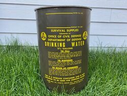 Vintage Military Drinking Water Survival Barrel 17 1/2 Gallon - Great Shape