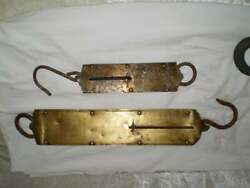 Antique Lander's Brass Hanging Scales-set Of Two-1930's