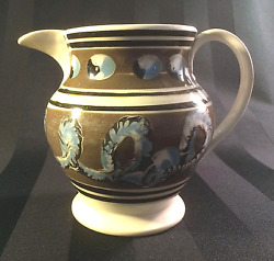 Early 19th C. English Mochaware Ceramic Pitcher In The Catand039s Eye And Worm Pattern
