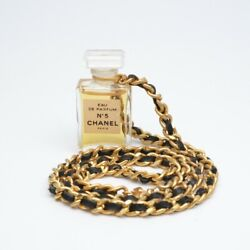 No5 Perfume Necklace Gold / Black Chain 22.05 Inches Women's From Jp