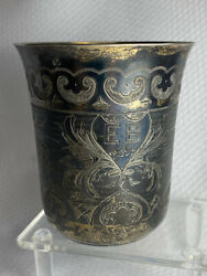 Antique Kiddush Cup 84 Silver Stamp Russian Hallmarked Bc 1872 Monogrammed Eb