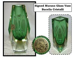 Vtg Signed Murano Faceted Sommerso Green Glass Bud Vase, Bucella Cristalli Italy