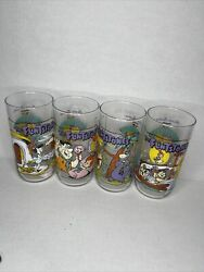 1991 Vintage Lot Of 4 Flintstones The First 30 Years Hardees Drinking Glasses