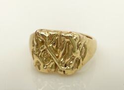 Vintage 9ct Gold Textured 70and039s Mens Signet Ring 10.5 Gm