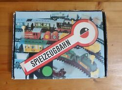 Spielzeugbahn Toy Train, Track, Whistle, And Wind-up Key, In Original Box