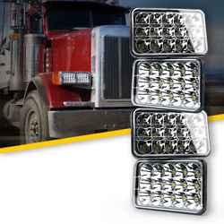 Xprite 4x 45w Led Square Headlights H4 H6 Replacement 6000k Clear Driving Lamp