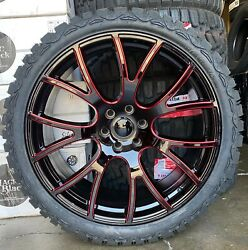 24and039and039 Hellcat Style Black Red Milled Wheels With 33and039and039 Mt Tires Dodge Ram 2019-21