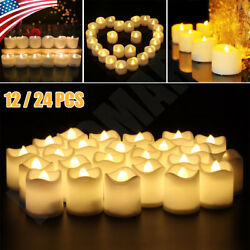 12 24PCS Flameless Votive Candles Battery Operated Tealight LED Tea Lights Decor