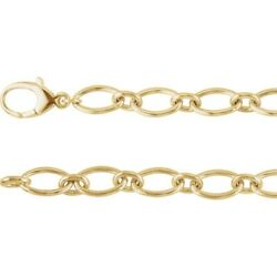 Charm Or Link Bracelet 14kt Yellow Gold Large Oval Link 7 ½ Or8 Inch