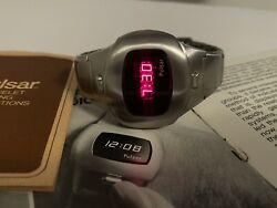 Vintage Pulsar P4 Month/day Led Stainless Steel Wristwatch Made In Great Usa🇺🇸