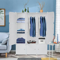 12 Cube Organizer Multifunctional Closet Cabinet With Hanging Rod White Plastic