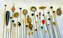 Collectible Stick Hat Pin Lot Floral Clear Black Beaded Swirls Jewelry Pins