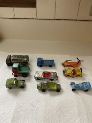 Antique Lot 9 Of Lesney Matchbox And Tootsie Toy Cars And Trucks