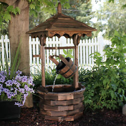 Sunnydaze Old-fashioned Wood Wishing Well Outdoor Water Fountain Feature - 48