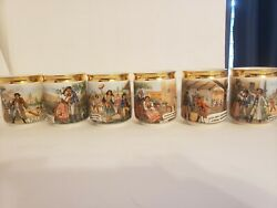 Set Of 6 Vintage Coffee Mugs Cups Gold Trim Czech Opera The Bartered Bride