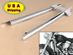 Pair Motorcycle Chrome Frame Down Tube Covers For Harley Fatboy Softail Springer