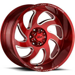 4 - 24x12 Red Wheel Off Road Monster M07 8x6.5 -44