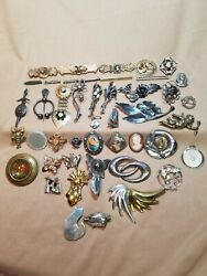 Lot Of 45 Brooches/pendant/pins Vintage Mostly Sterling Silver Wow 307 Grams