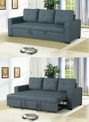 Small Space Convertible Sofa Bed Polyfiber Blue Grey Plush Couch Comfort Modern