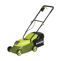 Cordless Electric Lawn Mower 14 Inch Cutting Path 28 Volt Catcher Bag Green