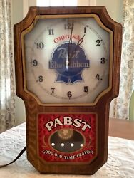 Original Pabst Blue Ribbon Beer Vintage Lighted Wall Clock With Working Pendulum