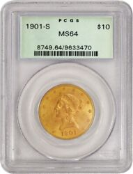 1901 S 10 Liberty Head Eagle Gold Pcgs Ms64 Generation 3.1 Old Green Holder Ogh