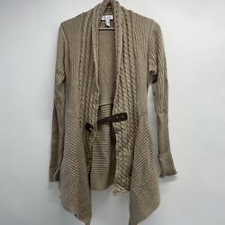 A367955 Denim And Co. Cable Knit Long-sleeve Cardigan With Buckle Closure Mocha S