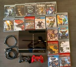 Sony Playstation 3 60gb Backwards Compatible - With Two Controllers And 17 Games