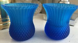 Vintage Pair 2 Faroy Usa Blue Glass Candle Holders
