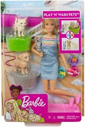 Barbie Play N Wash Pets Playset With Blonde Doll 3 Color-change Animals Grooming
