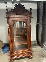 Antique Large Glass Wear Cabinet , Brown, Good Condition