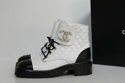 New Sz 7 / 37.5 White Leather Quilted Cc Chain Combat Lace Up Ankle Boot