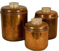 Revere Ware Canister Set Solid Copper 3 Pcs Rome New York 50s 60s Mid Century