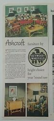 1949 Heywood Wakefield Ashcraft Home Furniture Sofa Chair Table Vintage Ad