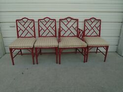 Set 4 Fretwork Faux Bamboo Dining Chairs Chinese Chippendale Hollywood Regency